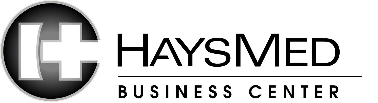 HaysMed Business Center Logo Vertical bw